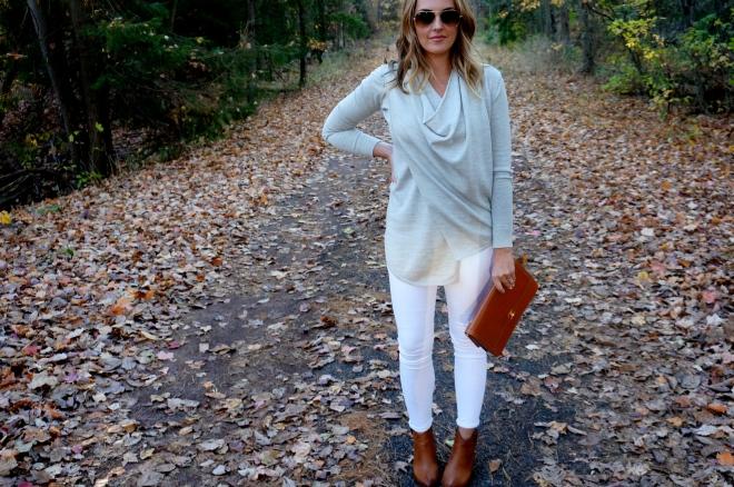 11 All Saints Drina Draped Merino Sweater Fall White New England Blogger