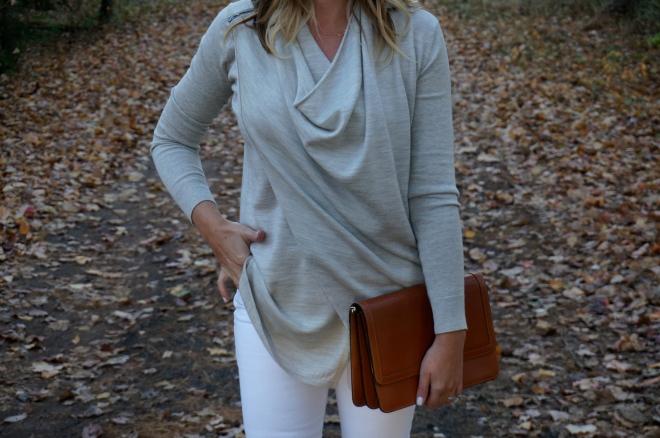 2 All Saints Drina Draped Cardigan Sweater Fall White New England Blogger